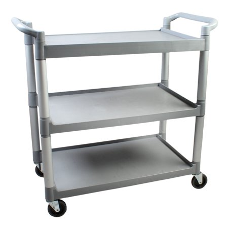 40.50 x 19.75 x 37.875 inch, 3-tier bus cart, grey, (asslembly required), comes in