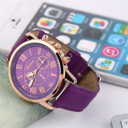 HC-TOP Universal Casual Stylish Numerals PU Leather Alloy Quartz Watch Accessory - image 4 de 6
