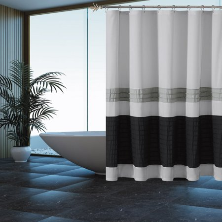 Gray Shower Curtain With Pleated Silver And Black Pintuck Stripes