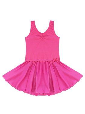 Girls Shiny Dancer Chiffon Skirted Leotard Ballet Dress