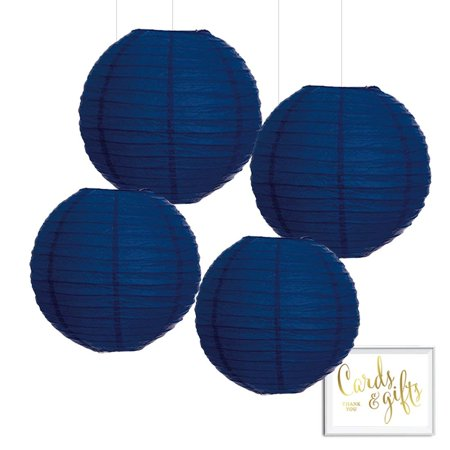 Andaz Press Hanging Paper Lantern Party Decor Kit with Free Party Sign, Navy Blue, 4-Pack - Party Lanterns