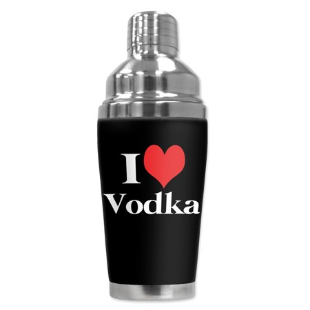 Mugzie brand 16-Ounce Cocktail Shaker with Insulated Wetsuit Cover - I Heart - Halloween Themed Vodka Cocktails