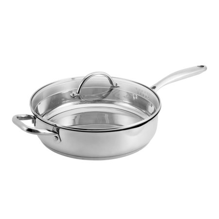 Hamilton Beach 11 Inch Heavy Duty Saute Pan with Glass Lid, Stainless Steel