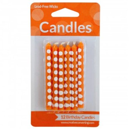 Bulk Buys PC041 108 Orange Polka Dot Birthday Candles Set