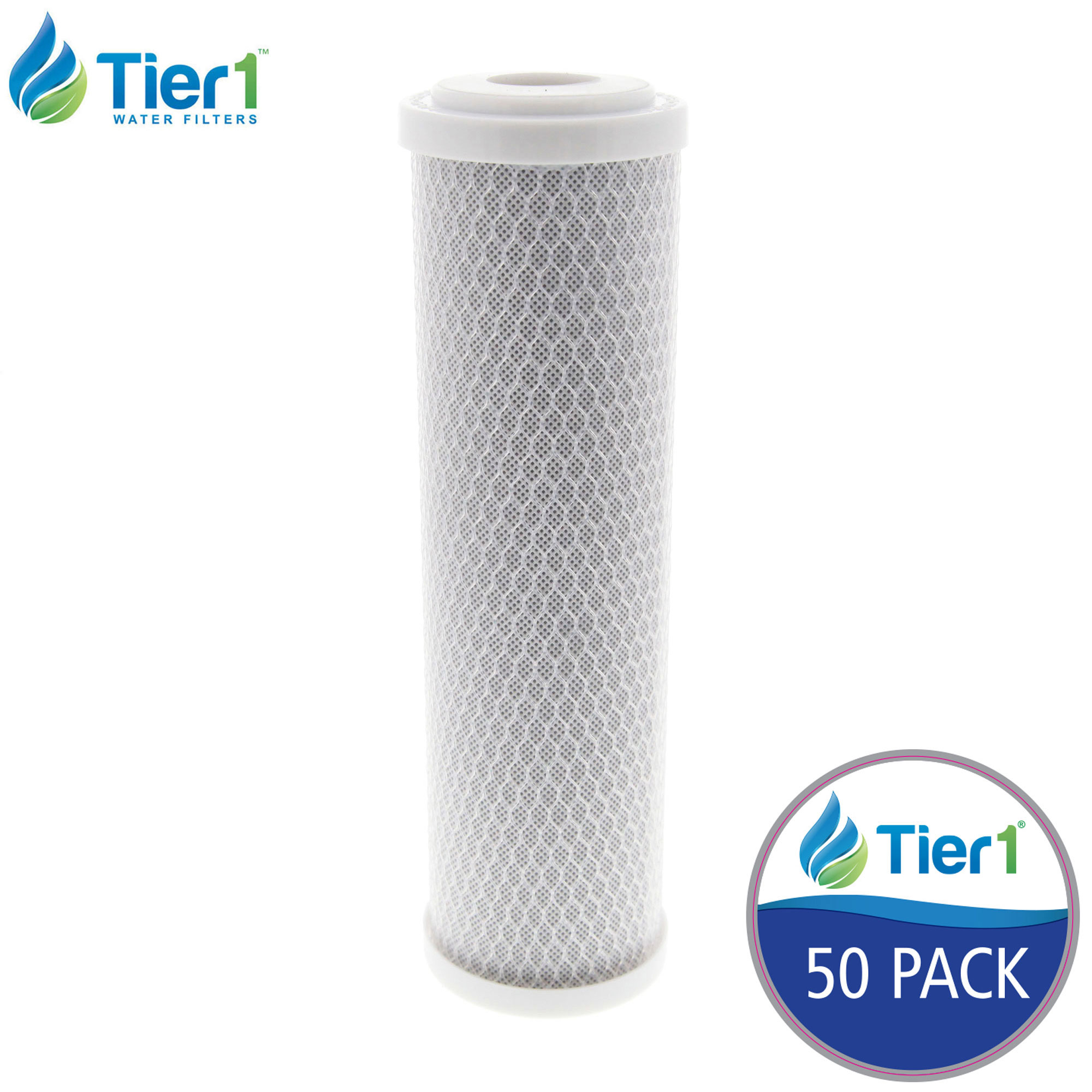 Tier1 EPM-10 10 Micron 10 x 2.5 Carbon Block Pentek Comparable Replacement Water Filter 50 Pack