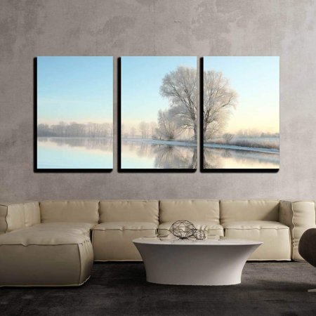 Lit Glass Panel - wall26 - 3 Piece Canvas Wall Art - Picturesque Winter Landscape of Frozen Trees Lit by the Rising Sun - Modern Home Decor Stretched and Framed Ready to Hang - 24