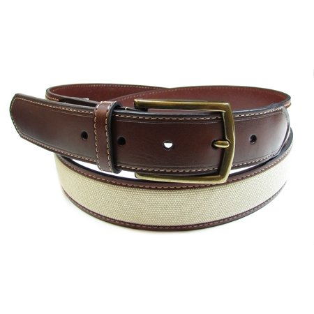 Club Room NEW Brown Canvas Insert Khaki Mens 44 Casual Leather Belt