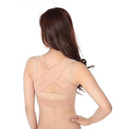 Women Figure Back Posture Corrector Hunchback Relief Humpback Correction Brace Chest Bra Support for Woman - Size L(Skin-Color)](Cute Braces Colors)