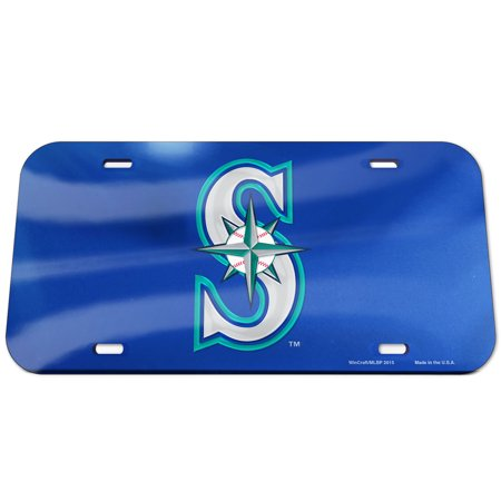 Seattle Mariners WinCraft Logo Crystal Mirror License Plate - No Size