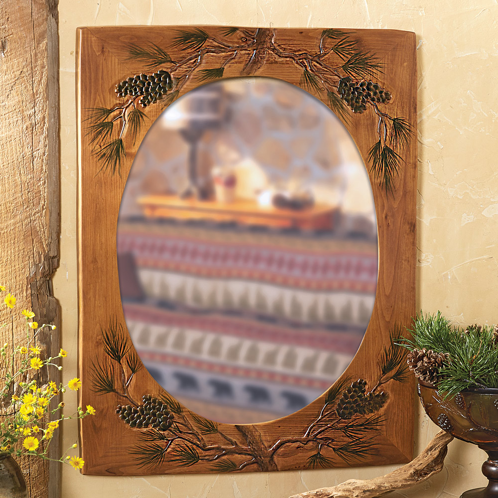Wood carved pinecone mirror
