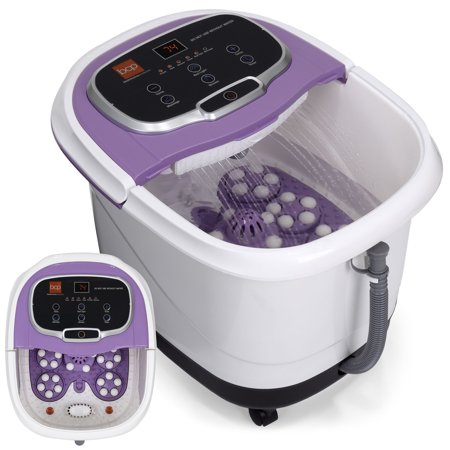 - Best Choice Products Portable Relaxation Heated Foot Bath Spa w/ Shiatsu Auto Massage Rollers, Taiji Massage, Acupuncture Points, Temp Control, Timer, LED Screen, Drain Filter, Shower Function -Purple
