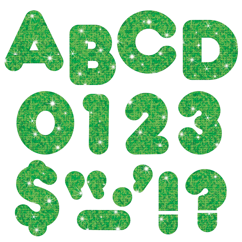 READY LETTERS 3 INCH CASUAL GREEN SPARKLE