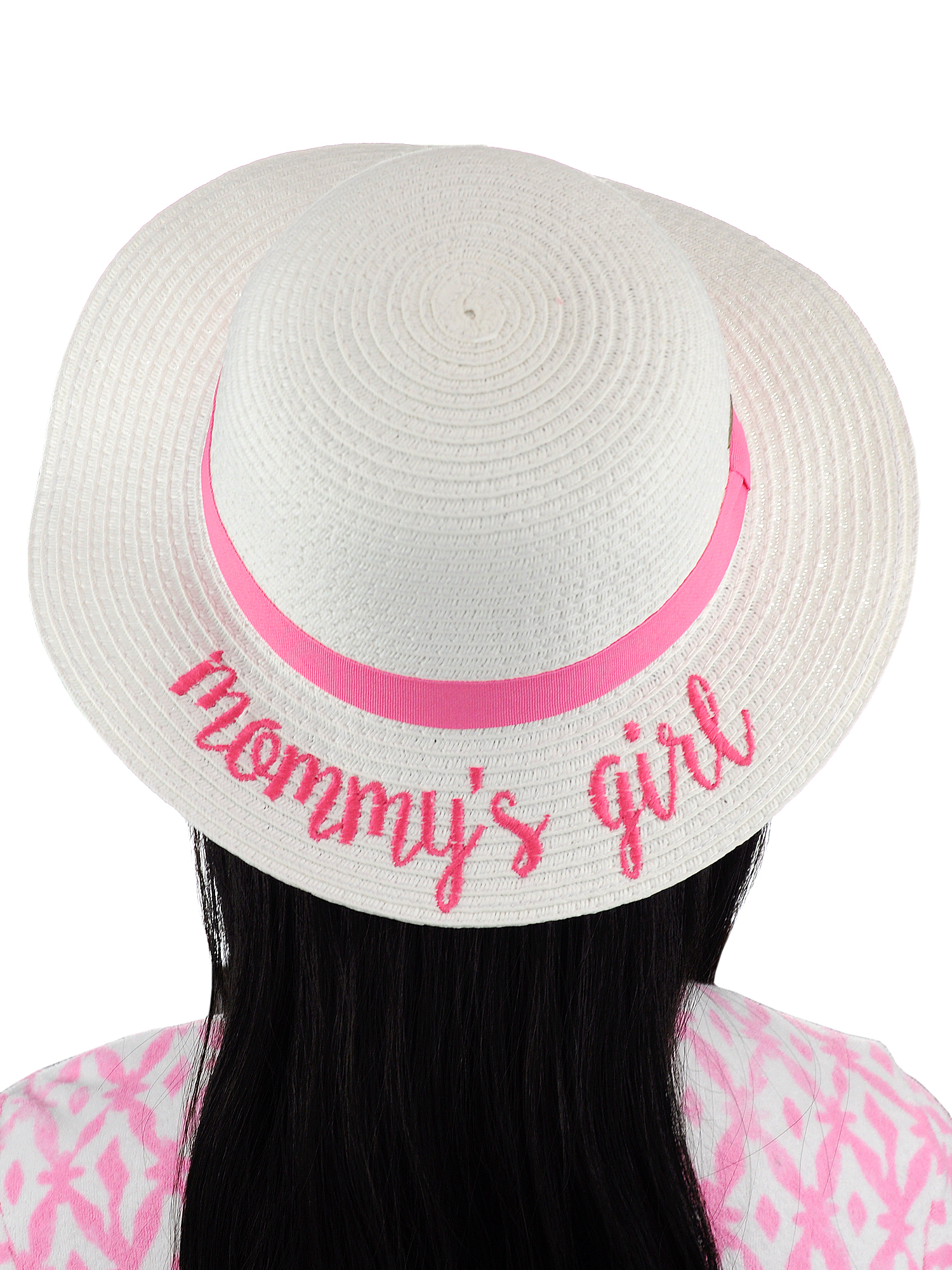9881efdc580 C.C Children's Weaved Crushable Beach Embroidered Quote Flop Brim Sun Hat,  Mommy's Girl