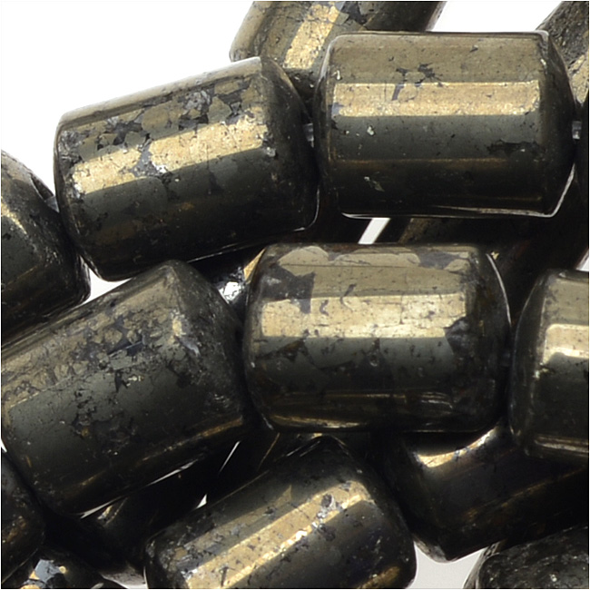 Pyrite Gemstone Beads, 6x9mm Barrels , 15.5 Inch Strand, Gold