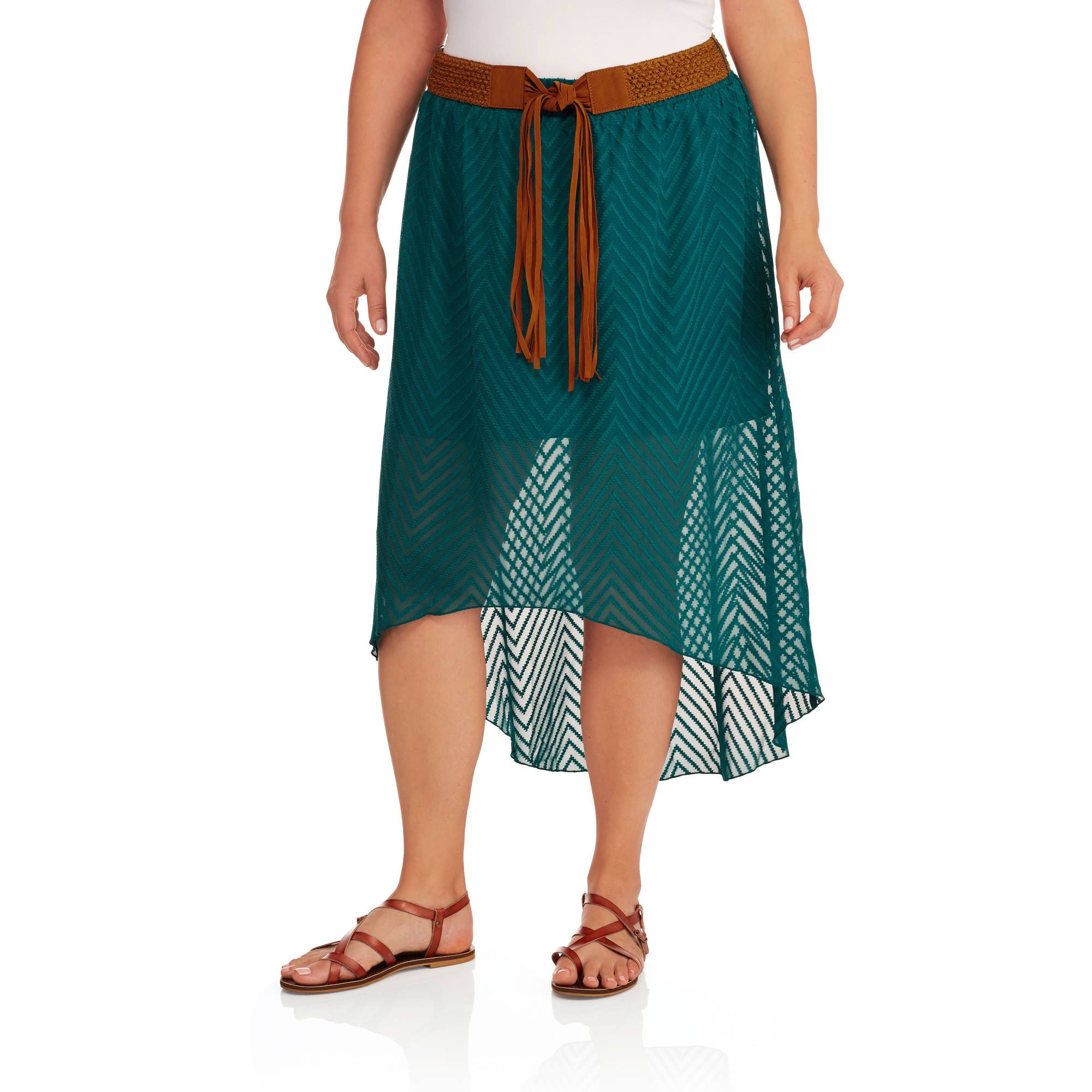 No Boundaries Women's Plus Size Belted Hi-Lo Maxi Skirt