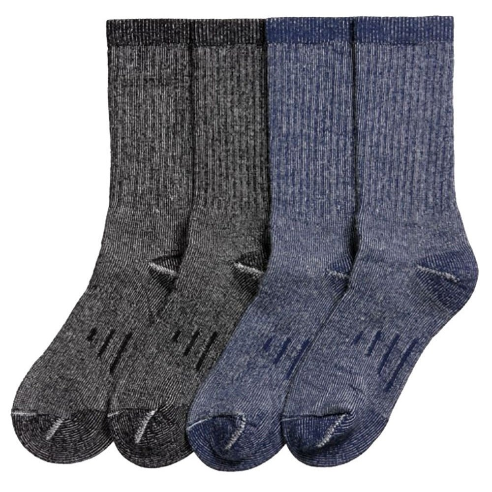 Kirkland Signature Men's Outdoor Trail Socks With Merino Wool Blend 4 Pairs, Medium (Blue, Black)