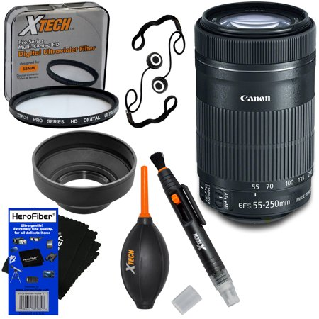 "Canon EF-S 55-250mm F4-5.6 IS ""STM"" Lens for Canon SLR Cameras + 7pc Bundle Accessory Kit w/ HeroFiber Ultra Gentle Cleaning Cloth"