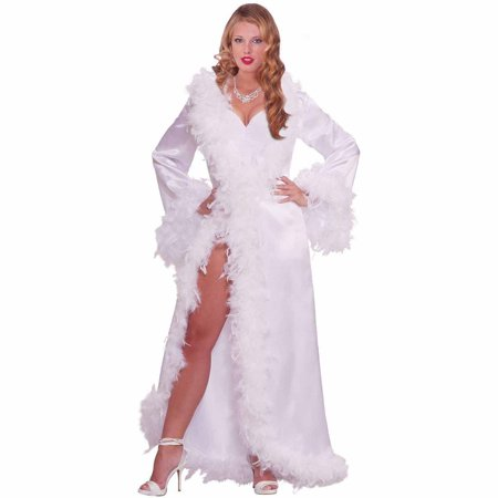 Vintage Hollywood Marabou Satin Robe Adult Halloween Costume - Halloween Costume Vintage