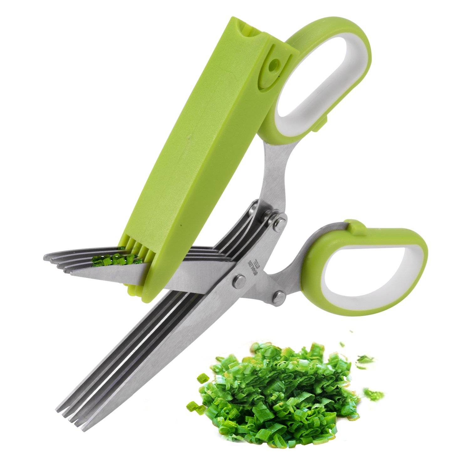 Betterhome Multipurpose Herb Shears Herb Scissors with 5 Stainless Steel Blades and Cover by X-Chef
