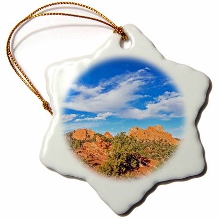 3dRose Garden of the Gods in Colorado Springs looking East - Snowflake Ornament, 3-inch