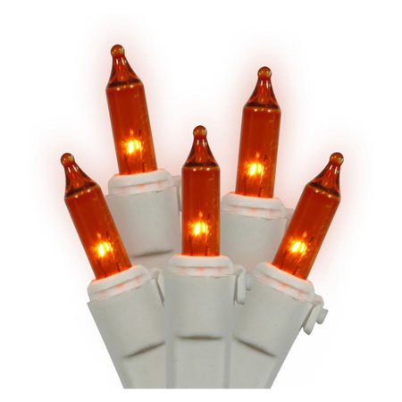 Vickerman 100 Light Amber Mini Light/White Wire End Connecting Lamp Lock Set 4