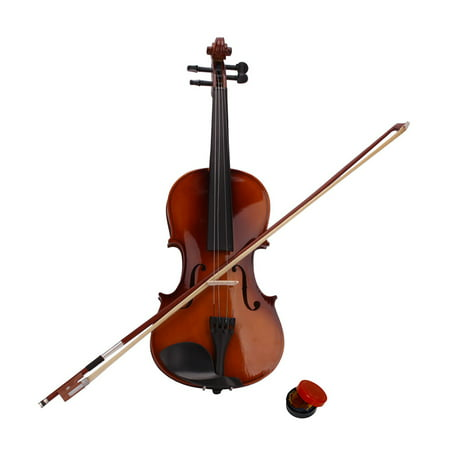 New 4/4 Solid Wood Acoustic Violin, Pack with Violin Fiddle Case, Bow & Rosin Music Hobby