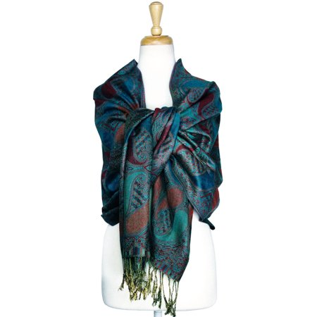 - Paisley Pattern Tow Layered Woven Pashmina Shawl Scarf Wrap Stole