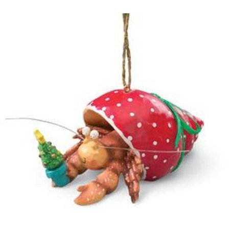 Pet Hermit Crab in Holiday Red Shell Christmas Tree Ornament, Hand painted resin ornament, adorned with detail By Cape Shore