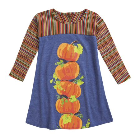 CWDKids Stack of Pumpkins Long-Sleeve Dress for Girls