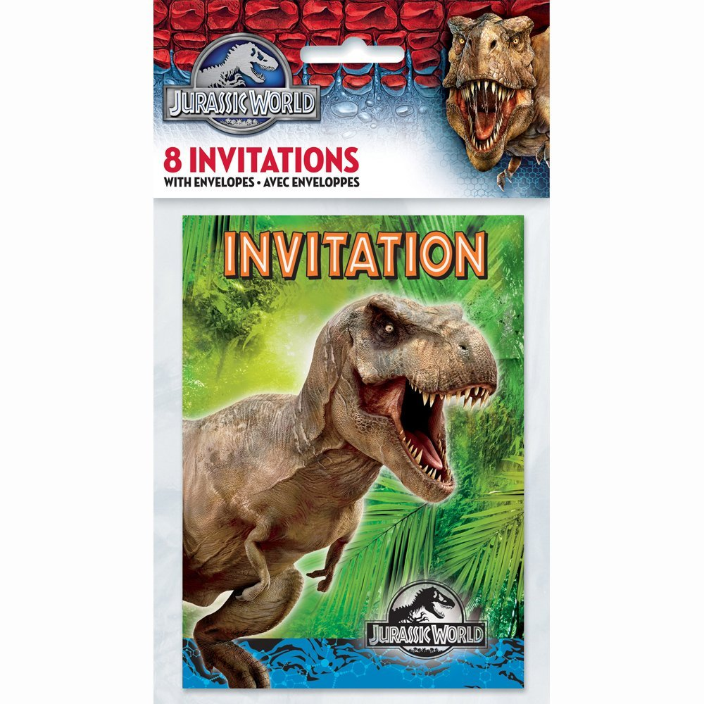 Jurassic World Party Invitations, 8ct, Package of 8 Jurassic World Party Invitations By Unique