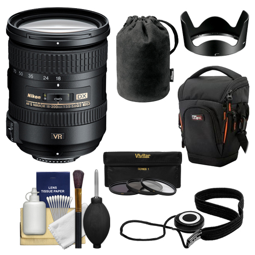 Nikon 18-200mm f/3.5-5.6G VR II DX ED AF-S Nikkor-Zoom Lens + Holster Case + 3 UV/FLD/CPL Filters for D3200, D3300, D5300, D5500, D7100, D7200 Camera