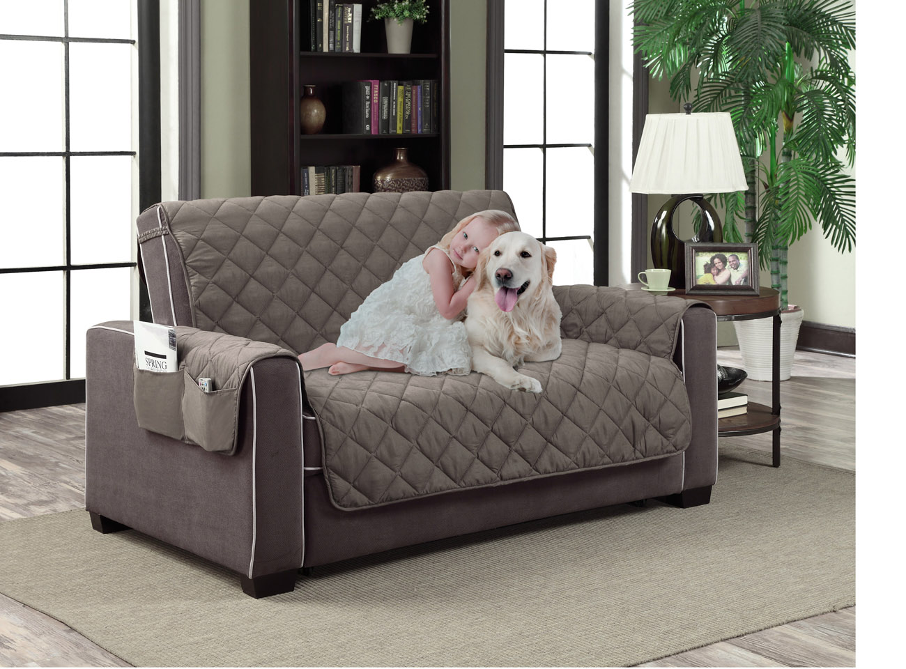 Home Dynamix Slipcovers: All Season Quilted Microfiber Pet Furniture Couch  Protector Cover   Gray   Walmart.com