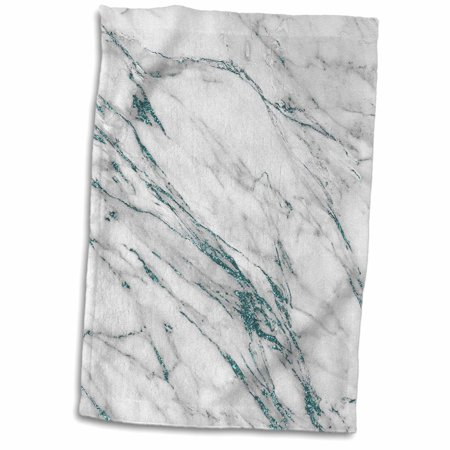 3dRose Luxury Grey Aqua Teal Gem Stone Marble Glitter Metallic Faux Print - Towel, 15 by 22-inch