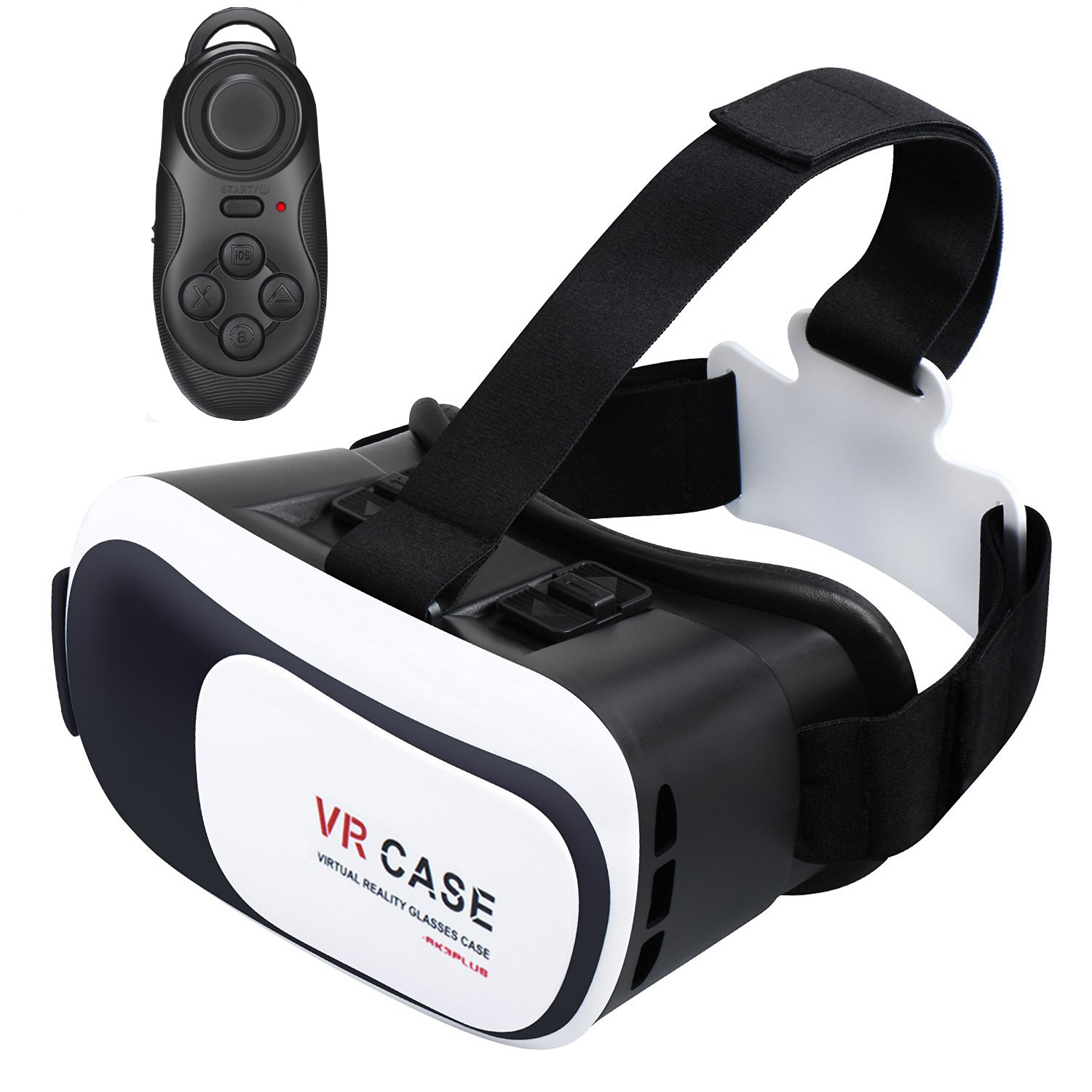 TekDeals Virtual Reality 3D Glasses Headset With bluetoot h Remote VR Goggle for 4-6 inches Smartphone iPhone Samsung Moto LG Nexus HTC, Black/White
