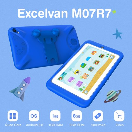 Excelvan 7.0 Inch CortexTM A7 Quad-core Android 6.0 1GB and 8GB Dual Camera WIFI BT Blue Children Tablt M07R7
