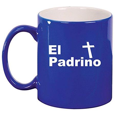 Pewter Christening Cup - Ceramic Coffee Tea Mug Cup El Padrino Christening Baptism Godfather (Blue)