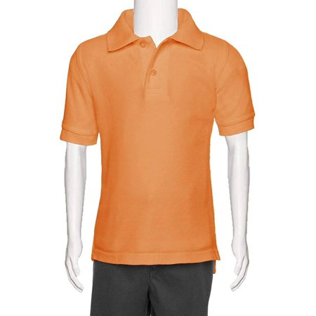 AKA - AKA Boys Wrinkle Free Polo Shirt Short Sleeve - Pique Chambray Collar  Comfortable Quality Tangerine 6 - Walmart.com c58b29a49398