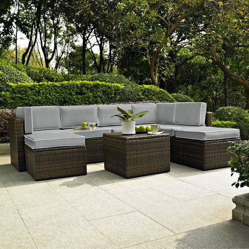 Crosley Furniture KO70008BR-GY Palm Harbor 8-Piece Resin Wicker Outdoor Sectional Seating Set (Brown Grey) by Crosley Furniture