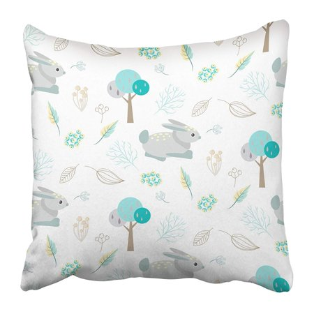 BSDHOME Woodland Blue Bunny in Abstract Woods Trees and Berry on White Cute Nature Animal Pillow Case Cushion Cover 20x20 inch - image 1 of 1