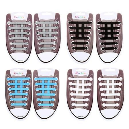 No Tie Shoelaces-RUNACC No Tie Shoelaces for Adults Elastic Shoe Laces Silicone Shoelaces Waterproof Shoe Laces for Sneakers 64 Pieces/set