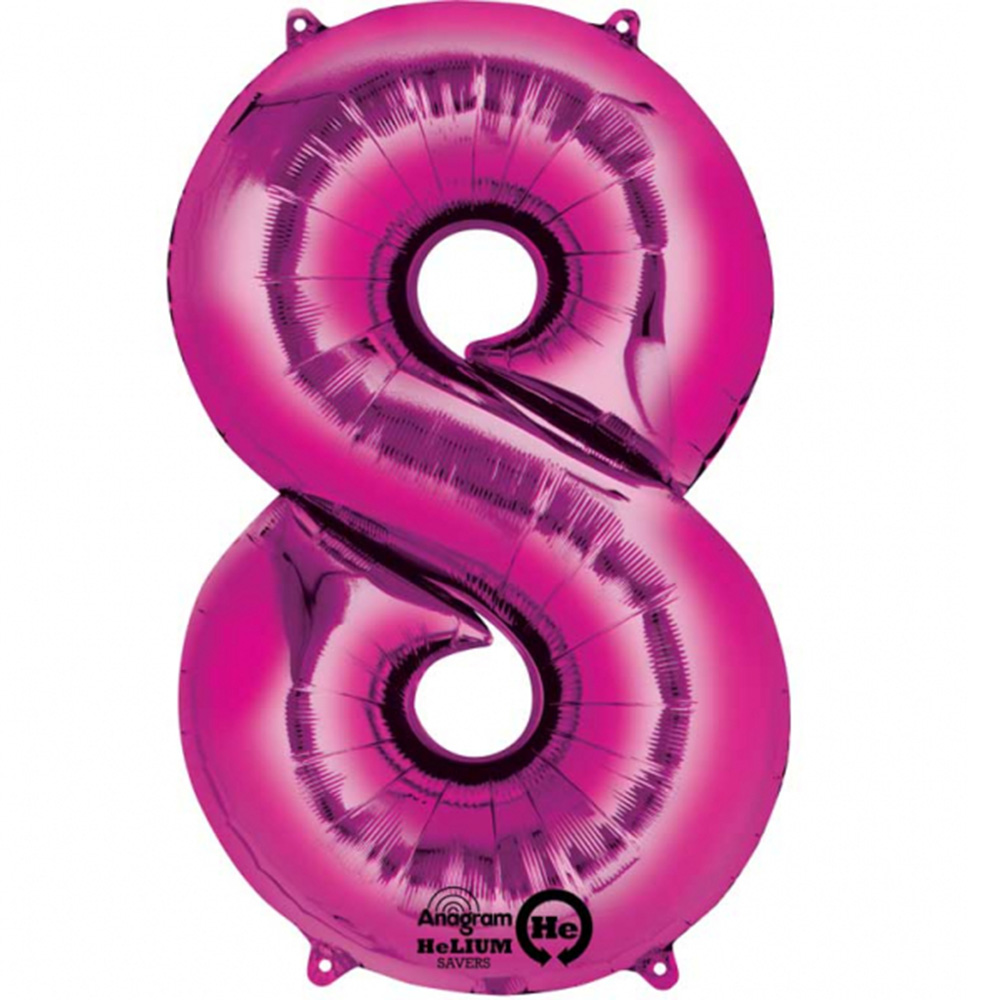 Mylar Pink Number Balloons (Each) - Size Number 8