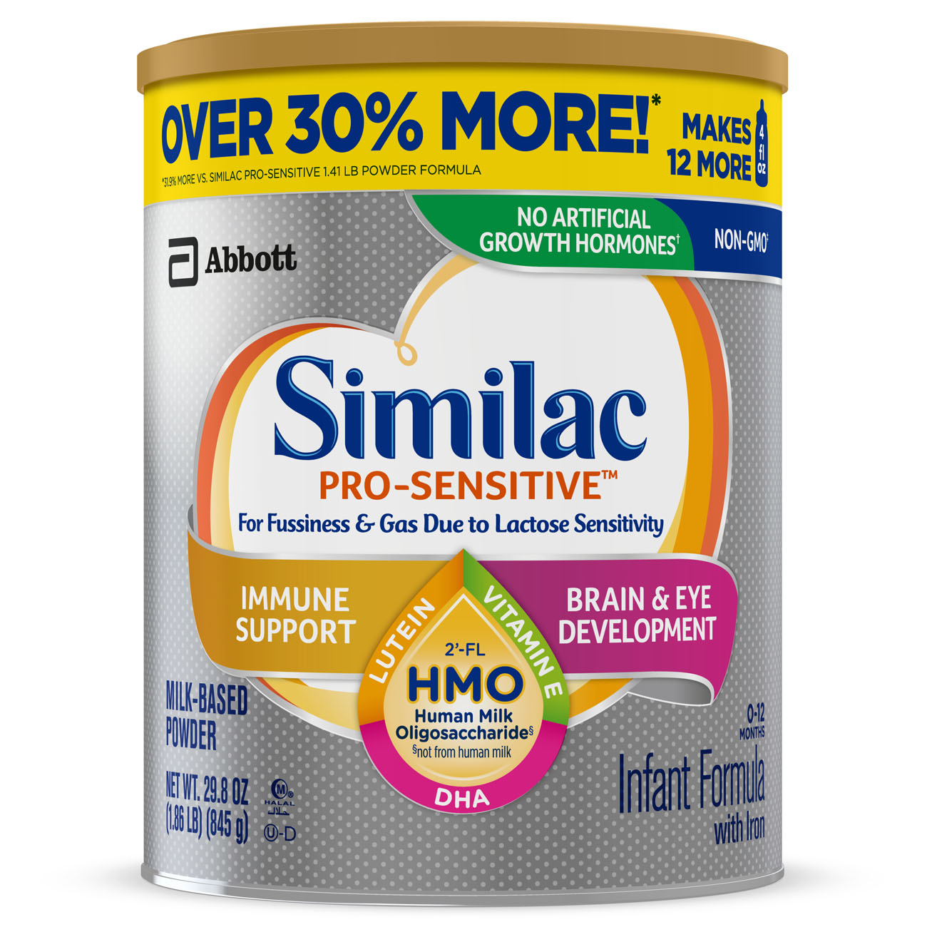 Similac Pro-Sensitive Non-GMO with 2'-FL HMO Infant Formula with Iron for Immune Support, Baby Formula 29.8 oz Can