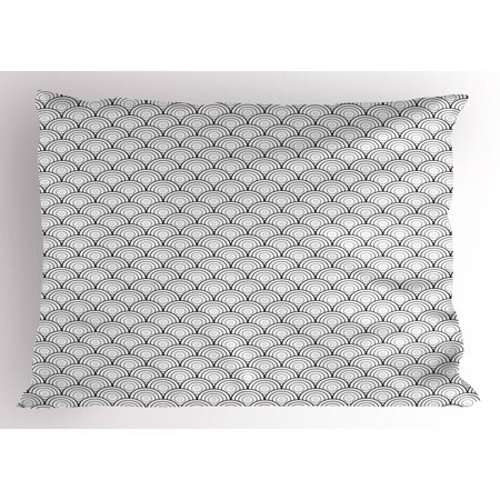 Geometric Pillow Sham Oriental Ancient Moroccan Like Rounds Circles Sea Wave Inspired Art Print, Decorative Standard Queen Size Printed Pillowcase, 30 X 20 Inches, Black and White, by Ambesonne