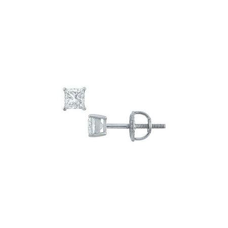 Platinum Princess Cut Diamond Stud Earrings 0.25 CT. TW. - image 2 de 2