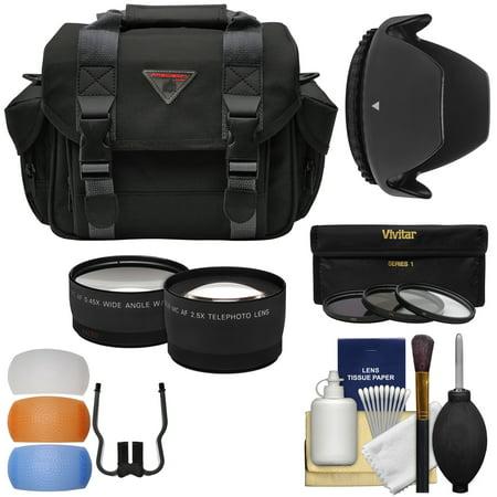 Essentials Bundle for Nikon D3200 D3300 D5200 D5300 D5500 Camera & 18-55mm VR Lens with Case + Wide/Tele Lenses + 3 (UV/CPL/ND8) Filters + Hood + Kit