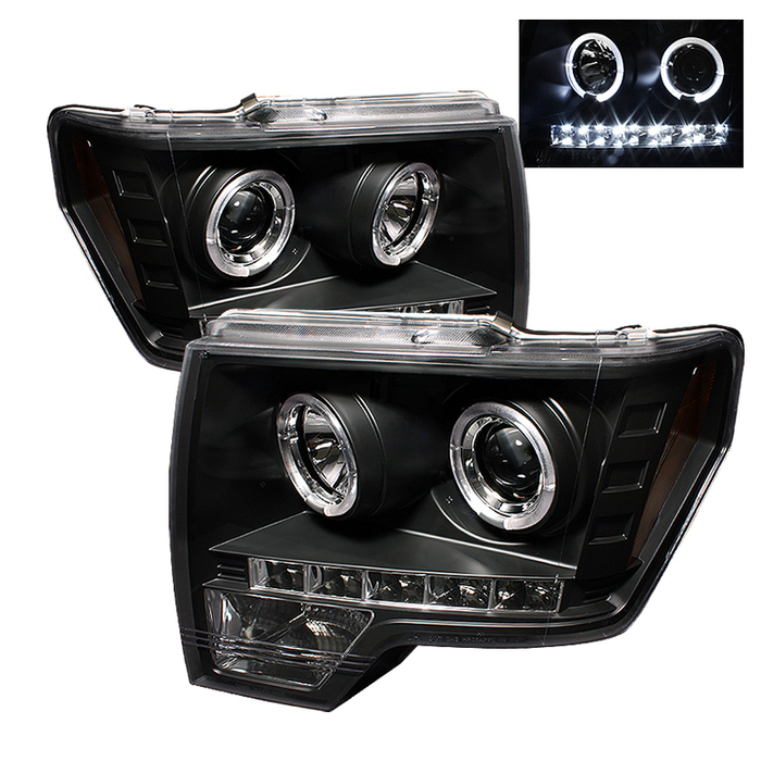 Spyder Ford F150 09-14 Projector Headlights - Halogen Model Only ( Not Compatible With Xenon/HID Model ) - LED Halo - LED ( Replaceable LEDs ) - Blac