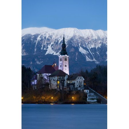 The Assumption of Mary Pilgrimage Church on Lake Bled at Dusk, Bled, Slovenia, Europe Print Wall Art By Miles Ertman - City Of Lake Mary Halloween