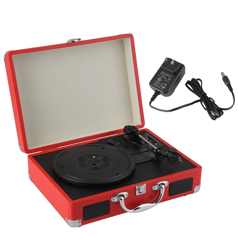Portable Victrola Record Player 3-Speed Stereo Turntable With Bluetooth Playing Function USB Phono Pre-Amplifier, Red