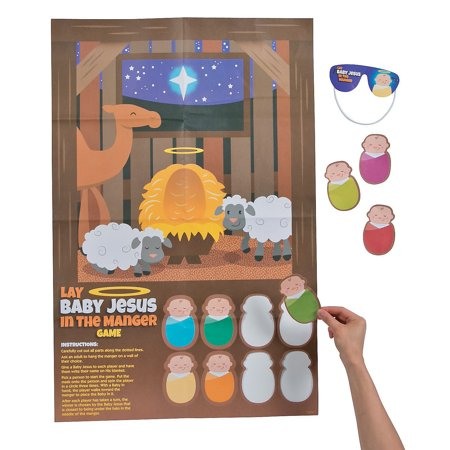 Fun Express - Put Baby Jesus In The Manger Game for Christmas - Toys - Games - Pin The & Bulls Eye Games - Christmas - 1 Piece ()
