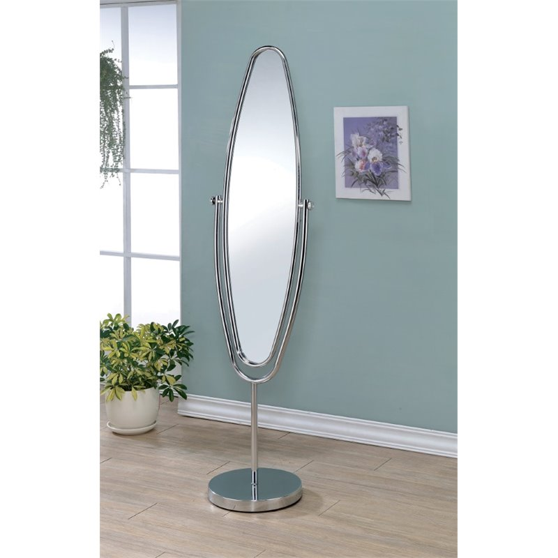Furniture of America Clarice Oval Metal Cheval Mirror in Silver